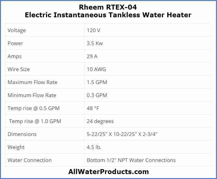 Rheem RTEX-04 Electric Instantaneous Tankless Water Heater AllWaterProducts.com