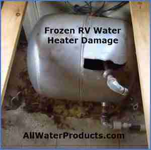 Frozen Water Heater Damage. AllWaterProducts.com