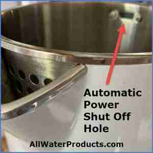Automatic Power Shut Off Hole in an electric kettle. AllWaterProducts.com