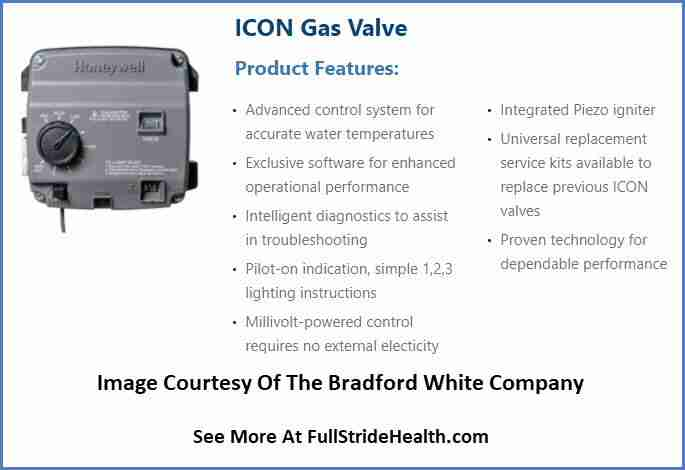 Bradford White water heater ICON gas valve features. Image courtesy of Bradford White Company