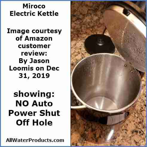 Miroco electric kettle with no automatic power off hole. allWaterProducts.com