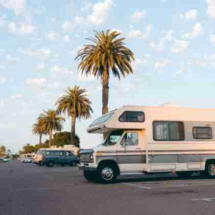 RVs parked under palm trees. Many types of RVs are equipped with a Suburban RV water heater.