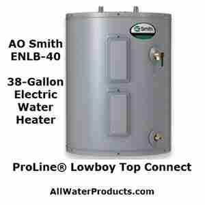 AO Smith ENLB-40 38 gallon electric water heater. Proline lowboy top connect. AllWaterProducts.com