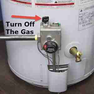 Turn off the gas on a water heater. AllWaterProducts.com